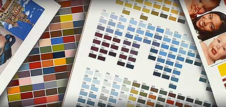transfer printed colour chart